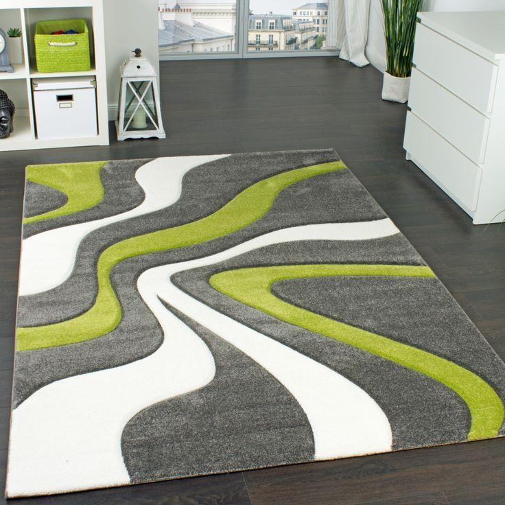 Designer Teppich Mit Konturen Schnitt Modernes Wellen Muster In Grau Grn Creme Wohn Und Schlafbereich