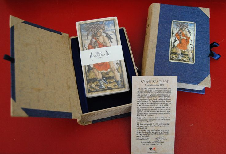 Tarot box (Book shaped version) created by Letizia Rivetti for the SOLA BUSCA TAROT 1491, published by Wolfgang Mayer in 1998.