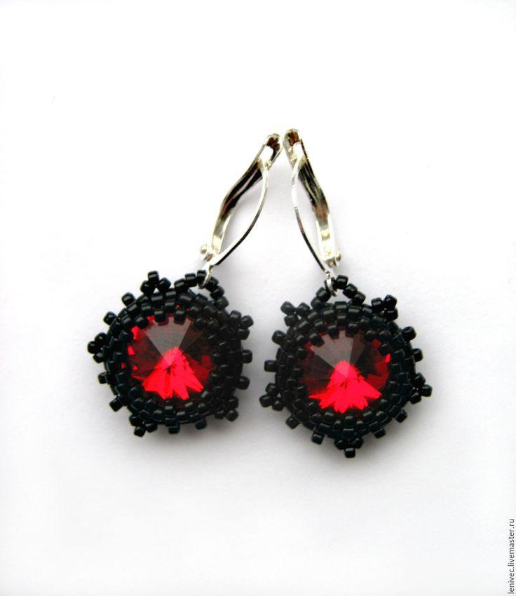 Купить Серьги Рубиновые звезды, красные серьги из бисера риволи сваровски - серьги из бисера риволи