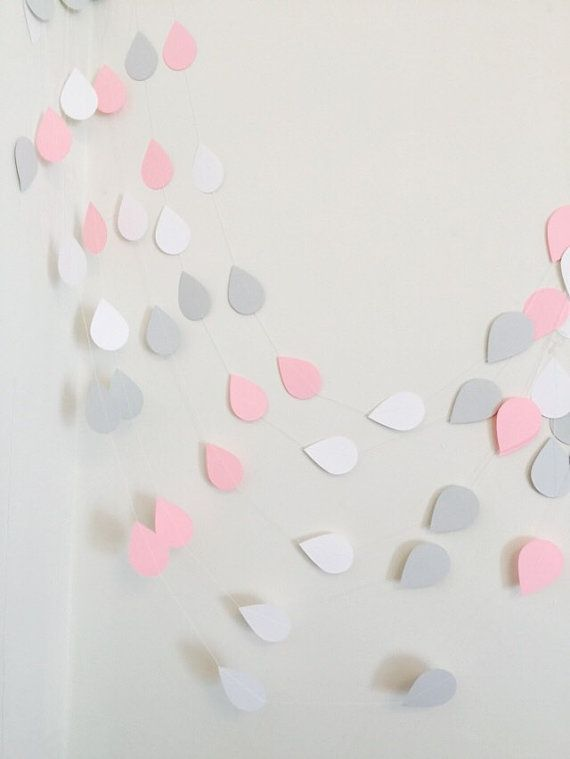 Baby Sprinkle Decorations, Paper raindrops, Pink & Gray Rain drop garland, Nursery decor, Sprinkle Shower , your color choices