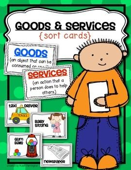 Goods and Services {Economics} Sort Cards for Kindergarten and First Grade. Needs and Wants. $