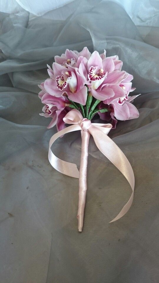 Romantic wired orchid bouquet