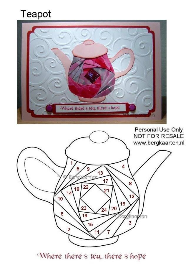 Irisvouwen Folded Teapot Pattern Paper Pieced Paper