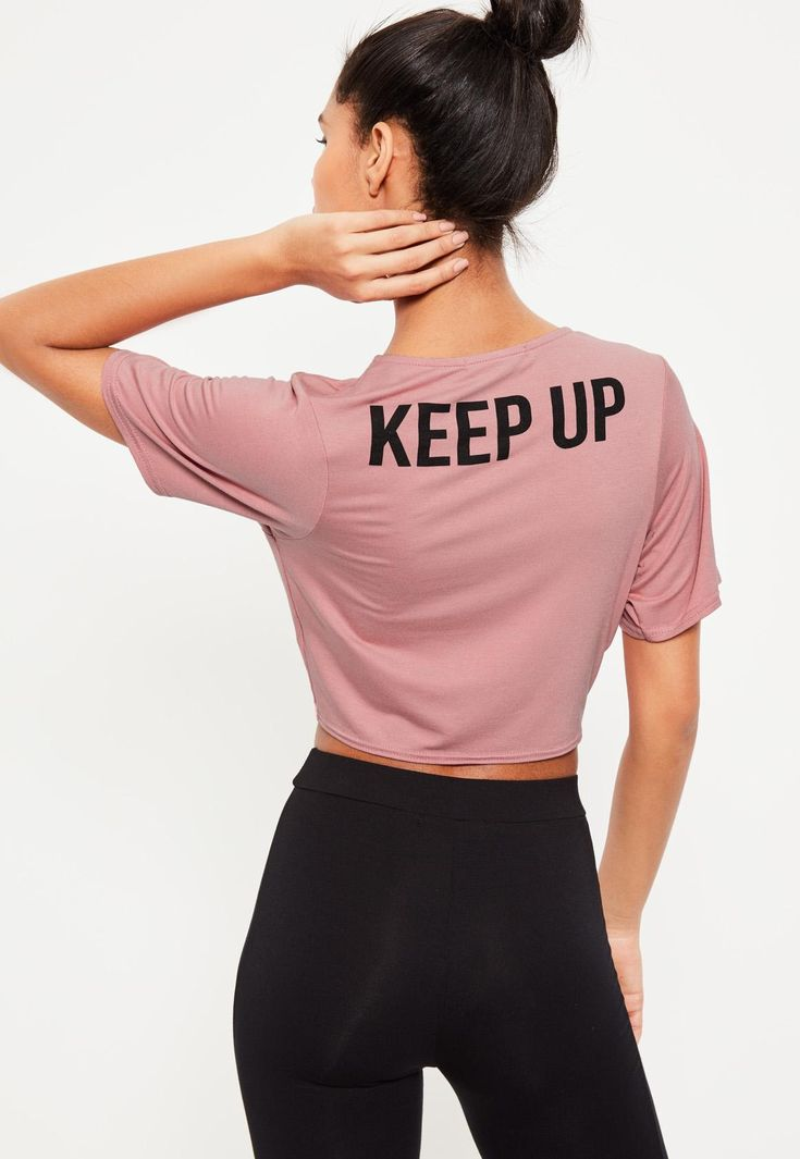 Missguided - Active Pink Keep Up Slogan Tie Sports Top