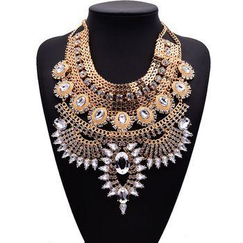 2015 nieuwe mode multi strass chunky choker verklaring kettingen en hangers voor vrouwen bruiloft druppel hanger ketting sieraden
