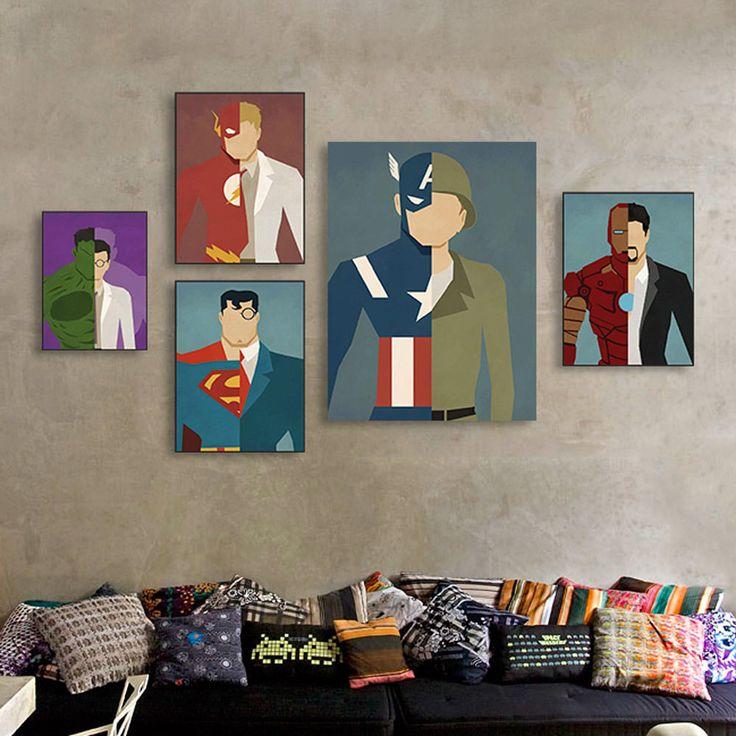 Modern Abstract Superhero Batman Movie Poster Kid Room Decor Canvas Art Painting
