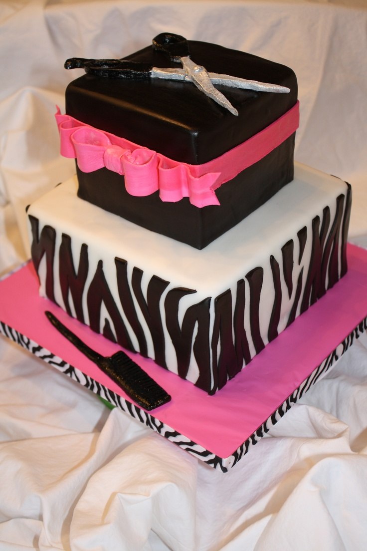"zebra cosmetology graduation  - For a cosmetology grad.  Scissors, bow comb are gum paste.  Covered in fondant.  Marble cake with chocolate ganache.  8"" and 5"" tiers"