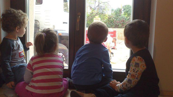 Épül-szépül a hátsó kert, a gyerekek pedig nagy érdeklődéssel követik az eseményeket!  What's going on? Curious pair of eyes stuck on the window, while the backgarden is in course of construction.