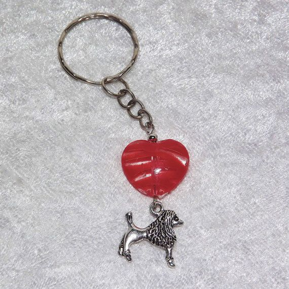 B.Long Poodle Striped Heart Keyring (Red) - Free UK P&P  Dog / Animal / Love /  Dog-Lover / Funky / Sweet / Elegant / French / Classy / Cute