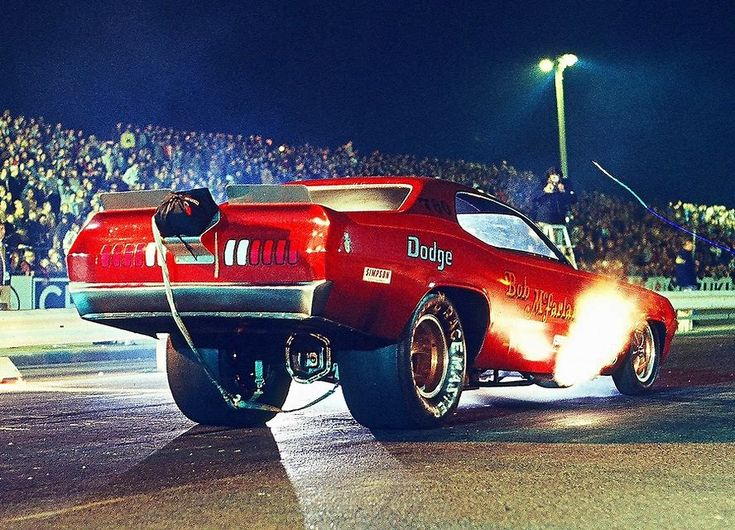 Bob McFarland stages his '71 Dodge Demon F/C under the lights at OCIR.
