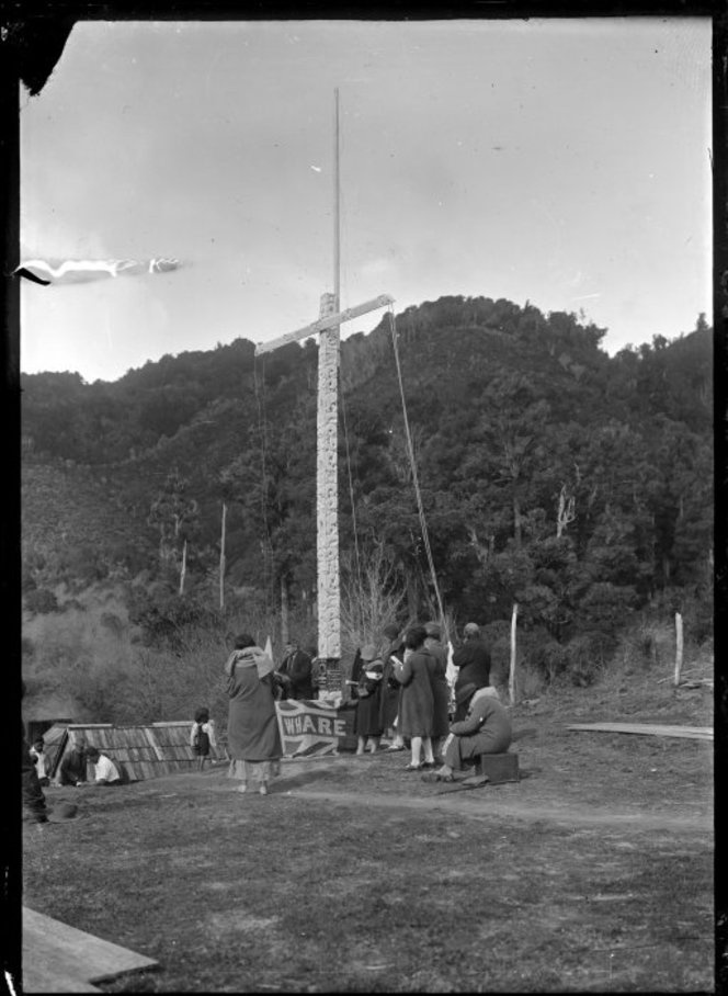 Dedication ceremony of three flags at Waireporepo Pa, Te Whaiti