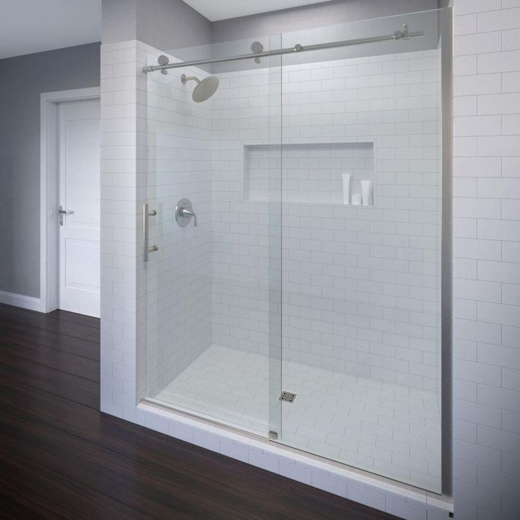 Basco Vinesse 47 in. x 76 in. Semi-Framed Sliding Shower Door and Fixed Panel in Brushed Nickel