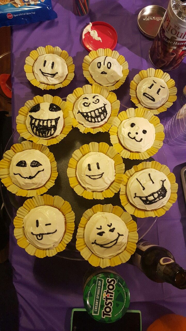 It's been a very Undertale themed Halloween party so far. We made Flowey cupcakes, spider cider, spider donuts, and we gave Sans and Papyrus some dialogue!
