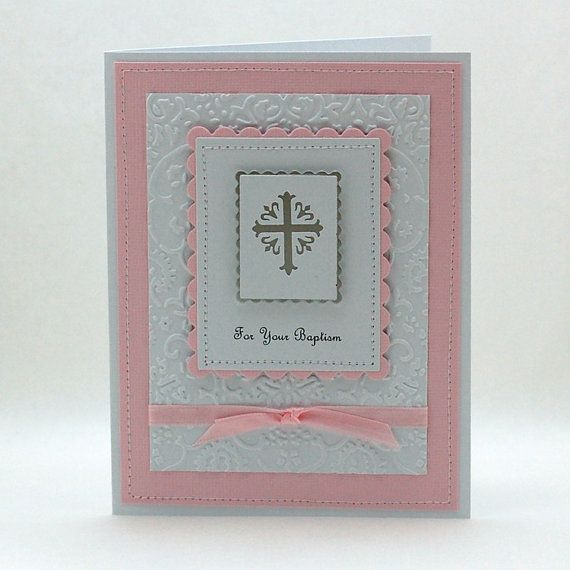 Pure Innocence Handmade Baptism Card in Light Pink by CameronCards