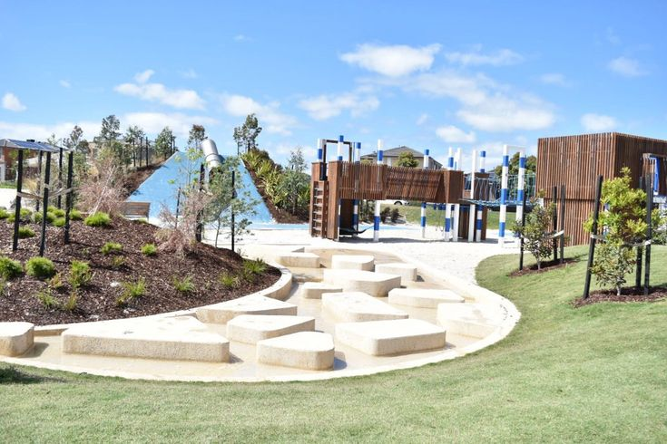 Architecturally landscaped Saltwater Coast park (aka Crocodile Park) features cycling paths, miniature oval, fitness stations, water play, slides, climbing ropes, and sand pit.
