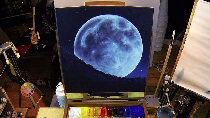 Full Moon Rising - Acrylic Painting Lesson - €10.00 #onselz