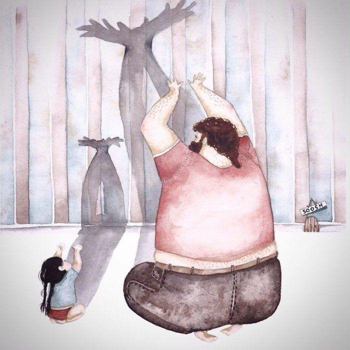 아빠와 딸의 사랑을 보여주는 따뜻한 일러스트 (사진 13장)