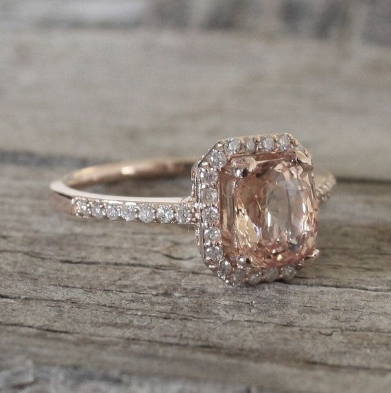 183 Cts Peach Champagne Sapphire Diamond Halo Ring by Studio1040, $2200.00 Love this ring!!