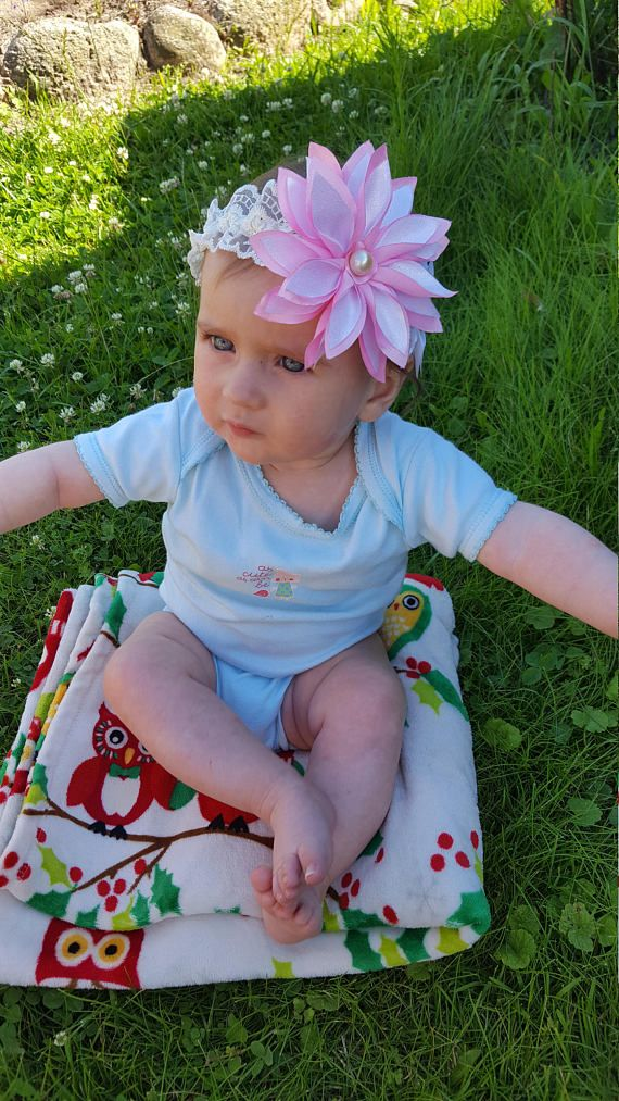 Child pink white headband Adorable girly head band Flower