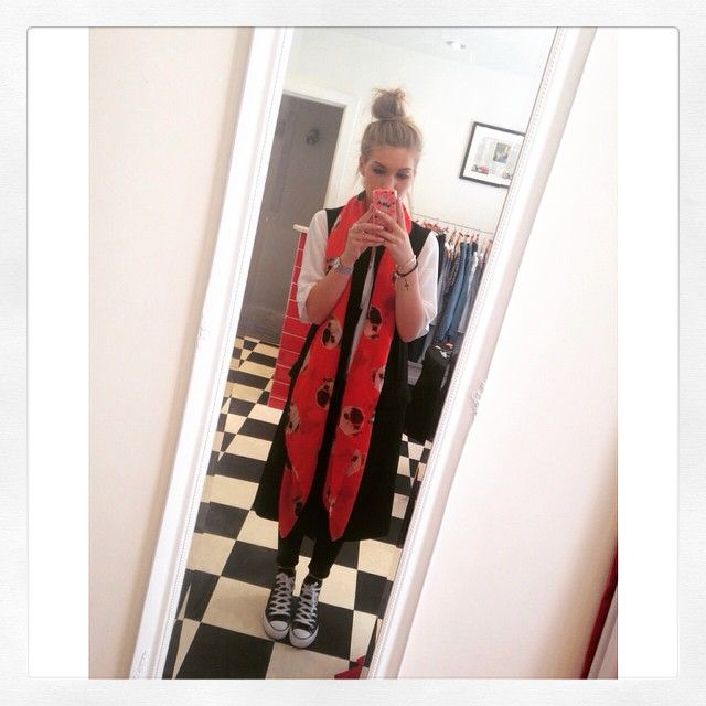 Daisy from team M&M wearing our red pug scarf!! A super cute piece for all weather & also available in navy! Get the look at 21 Guildhall Street Preston City centre - we are just off the main high street & are well worth a visit!! Alternatively shop online there's FREE UK shipping www.maryandmilly.co.uk @asosmarketplace ❤️