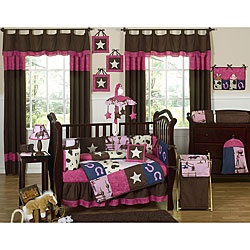 This cowgirl themed nine piece baby bedding set was created by JoJo Designs. This set includes a blanket, crib bumper, crib skirt, fitted sheet, toy bag, decorative throw pillow, diaper stacker, and two window valances.
