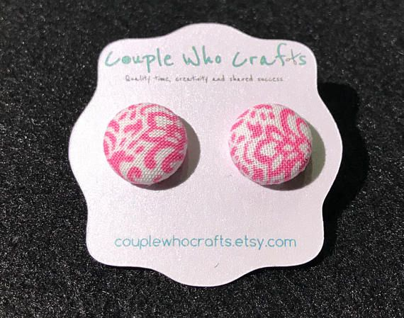 Pink and White Damask Fabric Covered Button Earrings Stud