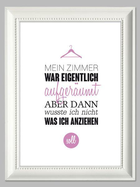 """""""Mein Zimmer war eigentlich aufgeräumt"""" Artprint // typo print by farbflut - ArtPrints via DaWanda.com"""