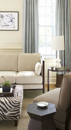 Zebra accent, blue drapes, brown and cream accent walls and furniture.