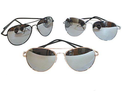 G&G Chrome Metal Silver Mirrored Aviator Sunglasses 3 Pair Special Spring Hinges, 1Chrome 1Black 1Go..