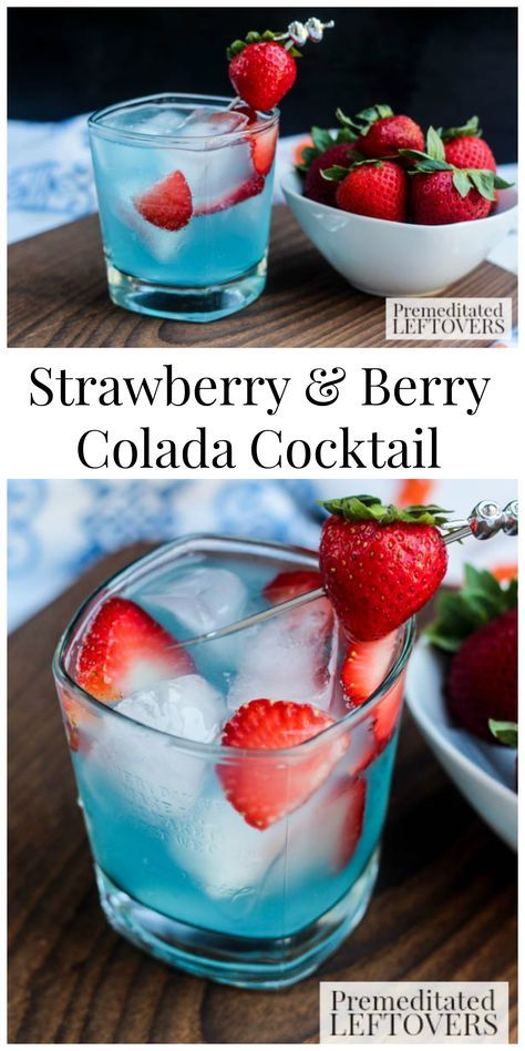 This Strawberry & Berry Colada Cocktail Recipe is a cool summer drink using Smirnoff Red, White & Berry Vodka and Seagram's Calypso Colada.