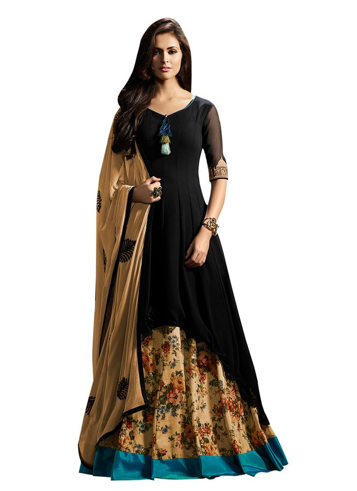 Buy Black Georgette Umbrella Lehenga online, SKU Code: GHSCC1103. This Black color Party umbrella lehenga for Women comes with Embroidered Faux Georgette. Shop Now!