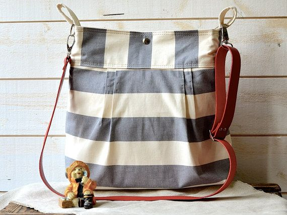 From Etsy  Waterproof Gray BEST SELLER Diaper bag/Messenger bag STOCKHOLM gray and ecru nautical stripe bag purse - 10 Pockets - Red leather strap   Cute!!