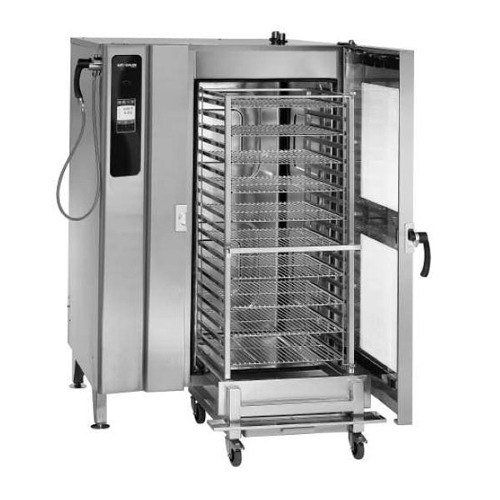 440/480V 3 Phase Alto-Shaam 20-20ES Combitherm Electric Roll-In Combi Oven with Standard Controls an EcoSmart design. Roll-in pan cart included. Holds 20 full size sheet pans or 40 full size food pans. UL and CE Listed.  #Alto-Shaam #MajorAppliances