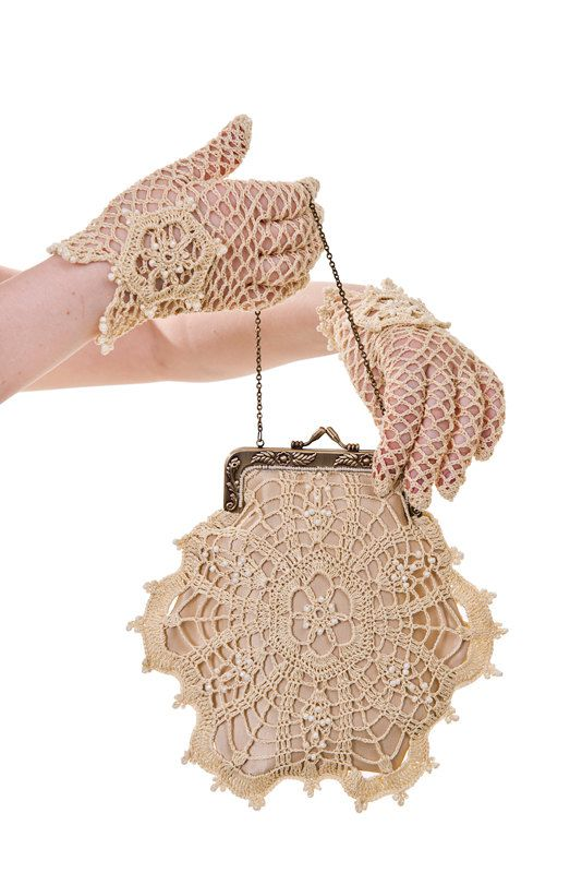 Vintage inspired hand crocheted lace bridal gloves and purse
