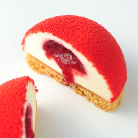 Délice aux Framboise-- made with White Chocolate Mousse, Raspberry Coulis and Sable Breton -- by Petite Amanda Patisserie