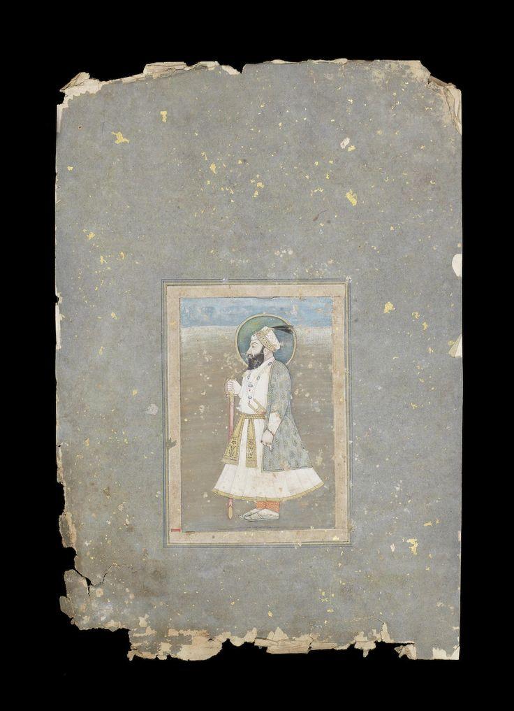 Emperor Shah Alam Bahadur Shah I (reg. 1707-12) standing in a landscape