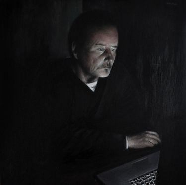 "Saatchi Art Artist Matthew Hickey; Painting, ""Screen time: Uncle Pat"" #art"