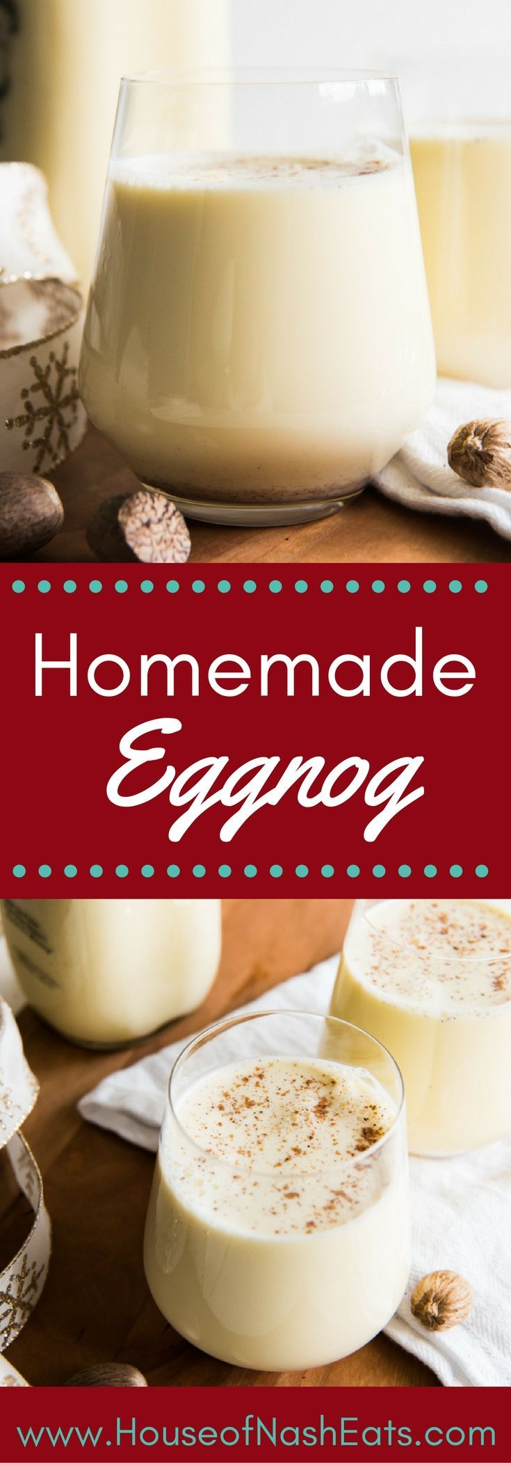 Light, creamy, and spiced with freshly grated nutmeg, this non-alcoholic Homemade Eggnog is so, SO much better than the store-bought variety that shows up in cartons each year around November or December.  It is both a beloved and beleaguered holiday beverage with a fascinating history.