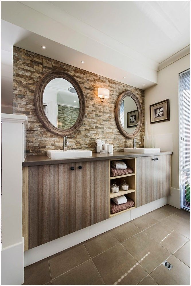 Captivating beachy bathroom ideas with above counter sink for Light brown bathroom ideas