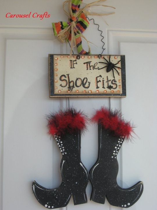 Door hanging. Halloween Wood Craft Witch's Boots. By Carousel Crafts