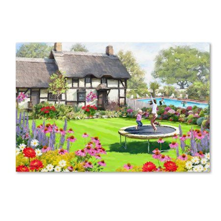 Trademark Fine Art 'Thatched Cottage' Canvas Art by The Macneil Studio, Green