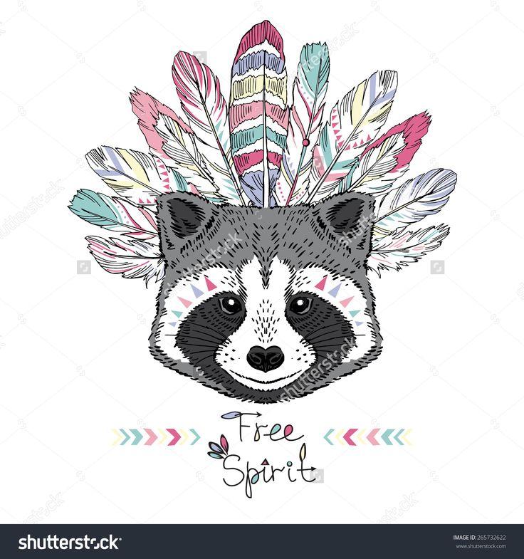 raccoon aztec style, hand drawn animal illustration, native american poster, t-shirt design
