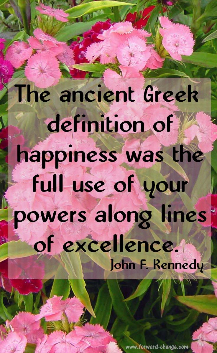 The ancient Greek definition of happiness was the full use of your abilities along lines of excellence --John F. Kennedy