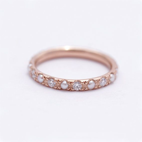 ON SALE Eternity Wedding Ring with Diamonds and Pearls by artemer