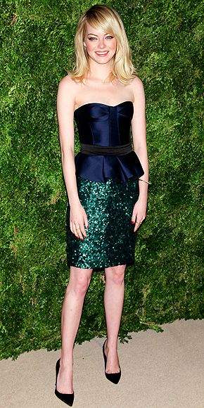 Emma Stone in blue + sparkly green. Love the dress and love the bangs.