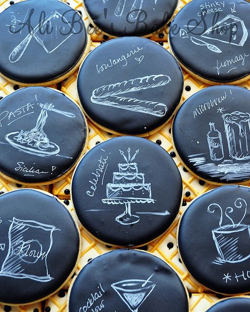 Chalkboard cookies by Ali Bee's Bake Shop (hand painting cookie Decorated Cookies