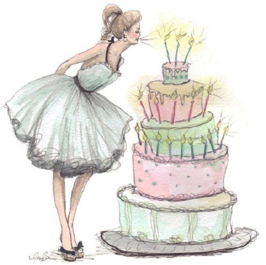 Студентами, открытка девушка с тортом