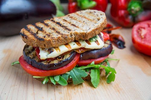 Grilled Eggplant and Red Pepper Sandwich with Halloumi  http://www.closetcooking.com/2012/09/grilled-eggplant-and-roasted-red-pepper.html