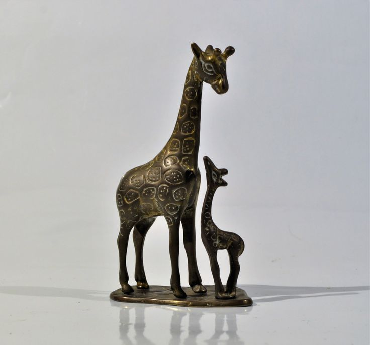 Mid century  Brass Giraffe Mother and Baby Statues /African decor/Rustic Decor India/Safari Jungle African Art/giraffe figure /paper weight by decor4home2 on Etsy