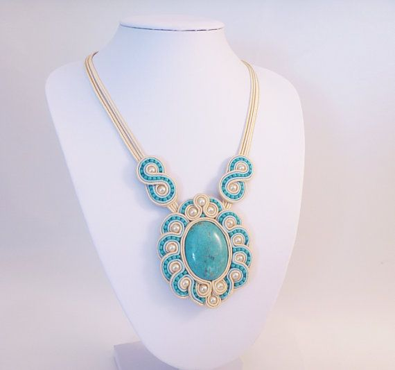Necklace in soutache and beads. Recycled cream beads and new turquoise beads  by MollyG Designs. Statement prom and party necklace.